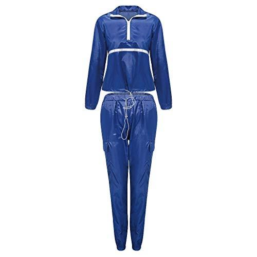 ZEZKT Damen Trainingsanzug Streifen Reflektierende Jacke Jogging Anzug Reißverschluss Sportanzug Jogginganzug Reflektierend Hausanzug Fitnessanzug Zweiteiler Freizeitanzug XL