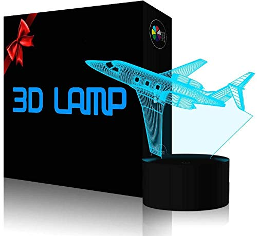 Table lamp 3D USB Night LightPlane 3D Illusion Lamp Led Night Light USB & Batteries Powered, Satisfying Present for Children