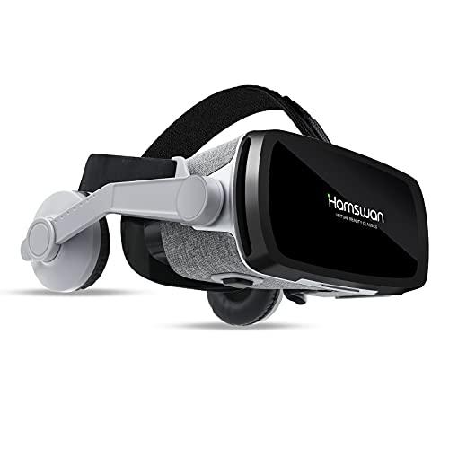 HAMSWAN 3D VR Brille, VR Headset Video Movie Game Brille Virtual Reality Headset für 3D Filme und Spiele Kompatibel mit iOS, Android und Anderen Handys innerhalb von 4.7-6.53 Zoll