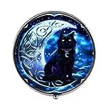 Vintage Black Cat Crescent Moon Photo Glass Pill Box Candy Box Fashion Jewelry Friend Gifts