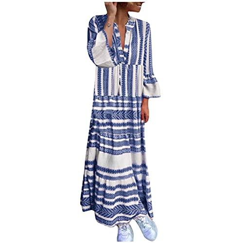 Boho Kleid Damen Lang Baumwolle Maxikleider Damen Langarm Sommer v-Ausschnitt Vintage Blumen Lang Boho Party Kleider