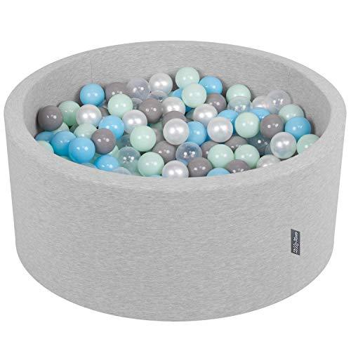 KiddyMoon Bällebad 90X40cm/300 Bälle ∅ 7Cm Bällepool Mit Bunten Bällen Für Babys Kinder Rund, Hellgrau:Perle/Grau/Transparent/Baby Blau/Mint