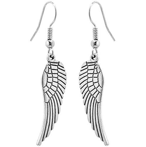 2LIVEfor Pendientes largos de plata con alas y plumas, pendientes de alas de ángel