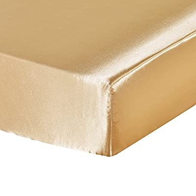 DuShow Fitted Sheet Twin Yellow Satin Silky Sol...