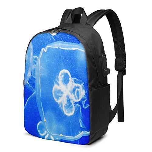 WEQDUJG Mochila Portatil 17 Pulgadas Mochila Hombre Mujer con Puerto USB, Enjambre de Medusas Transparentes en el mar Azul Mochila para El Laptop para Ordenador del Trabajo Viaje