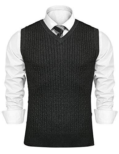 Sykooria Suéter sin Mangas con Cuello en V para Hombre Caliente Jersey Invierno de Chaqueta de Punto de Otoño de Hombre Cárdigan de Punto Casual