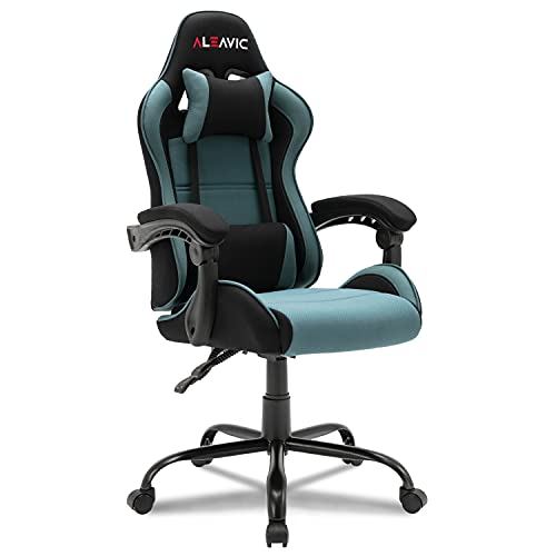 ALEAVIC Gaming Chair with Footrest, High Back Ergonomic Adjustable Gamer Chair, Racing Style PU Leather Reclining Gaming Desk Chair, Computer Gaming Chair with Headrest and Lumbar Support (GreyBule)