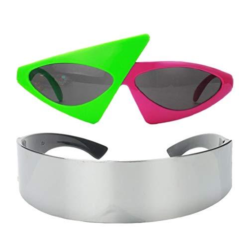 freneci 2 Piezas Divertidas Gafas de Sol Rosas Verdes Gafas de Fiesta Robot Futurista Accesorios para Fotos