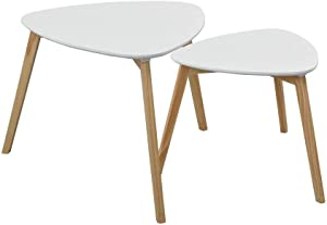 HomyCasa End Table Set of 2 Triangular Coffee Table Scandinavian Wood Table with Beech Legs, White
