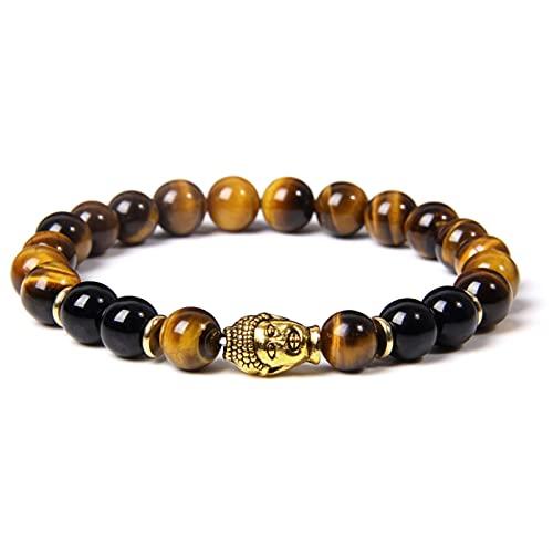 Buddha Head Bracelets Men Vintage Elastic Prayer Jewelry Natural Chakra Tiger Eye Stone Beads Bangle Gold Charm (Length : 19cm, Metal Color : Cubic Zirconia)