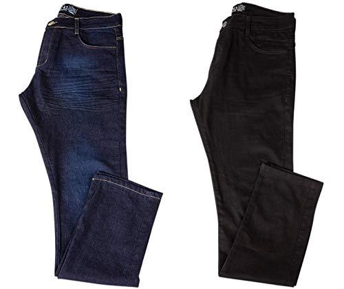 Kit com Duas Calças Masculinas Jeans e Sarja Coloridas com Lycra - Jeans Escuro e Preta - 42