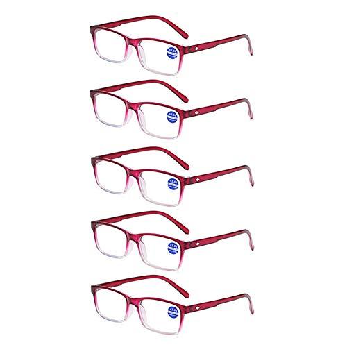 JTeam Lesebrille 5 Paar Super Leicht Gläser Rahmen Anti-blaues Licht Mode Design (Color : Purple, Size : 3.50X)