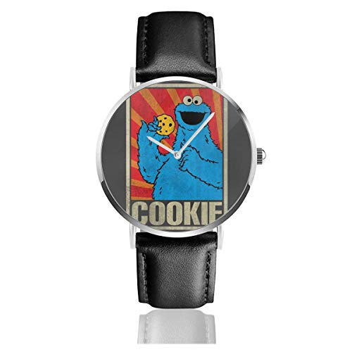 Unisex Business Casual SES-AME Street Cookie Monster Sowjetische Uhren Quarz Lederuhr