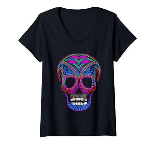 Mujer Disfraz de Halloween de calavera decorada colorida fiesta Camiseta Cuello V