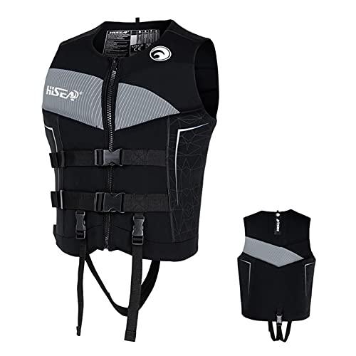 Chalecos salvavidas para adultos, chaqueta de ayuda a la flotabilidad Chaleco salvavidas de neopreno para nadar Chalecos para esnórquel para nadar a la deriva Velero en kayak,Gris,3XL
