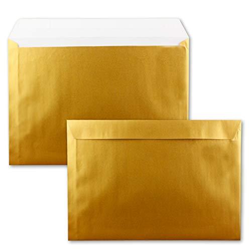 25x große XXL Briefumschläge DIN C4 in Gold Metallic - 22,9 x 32,4 cm - Haftklebung ohne Fenster - Versandtasche für DIN A4 geeignet