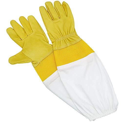 KingLAKE Guantes de apicultura impermeables de piel de cabra, guantes de apicultor de cuero para hombres y mujeres, guantes de protección de apicultura grandes largos con mangas ventiladas
