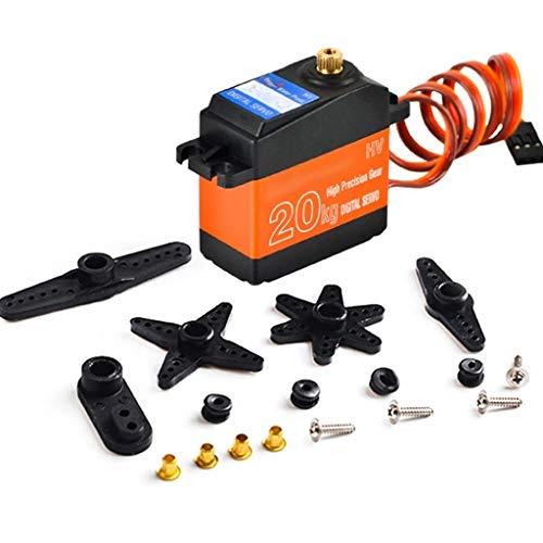 RC Coche Servo Motor Digital 20 Kg Metal Resistente Al Agua Alto Par, para RC Coche Avión Barco, Ángulo Control 180 Grados