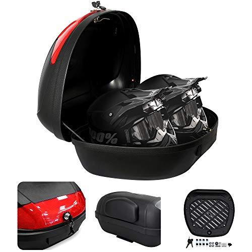 Todeco - Bauletto Moto, Valigia Per Moto - Materiale: PP - Dimensione: 59,5 x 43,5 x 31 cm - Nero, 52 Litri, con fondello