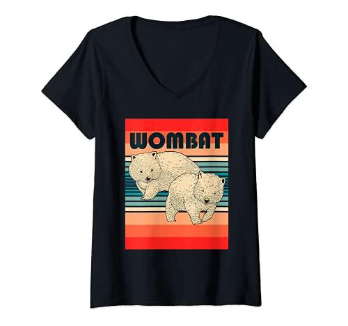 Mujer Wombat Mochilero Viaje Con La Mochila Animal Australiano Camiseta Cuello V