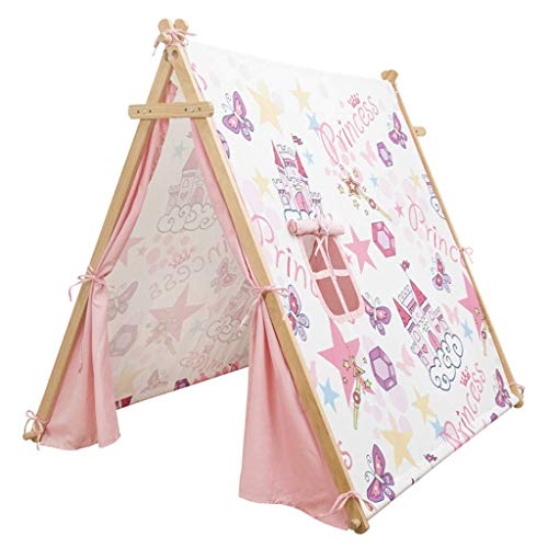 Kids Tent, Tents Children's Play Tent, House-like Teepee Pink Cartoon Castle Tent Girl's Dream Reading Corner Baby's Parent-child Playhouse Kids Teepee (Color : Pink, Size : 126 * 140 * 125CM)