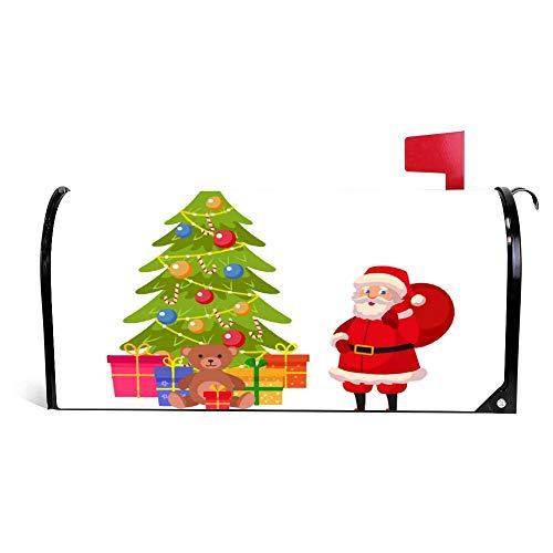 wendana Grappige Kerstman en kerstboom met veel geschenken brievenbus Cover Magnetische Vinyl Thuis Tuin Decor Mailbox Wrap Post Brievenbus Cover 18