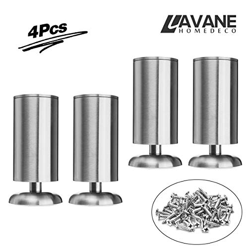 4.72 inch / 12cm Furniture Legs, La Vane Set of 4 Stainless Steel Cabinet Feet for Cupboard Sofa Kitchen Couch Bookcase