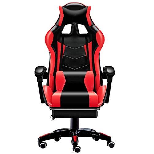 Drehstuhl Racing Stuhl Gaming Chair Ergonomische Computer Sessel Office Home Swivel Massagesessel Hebe Verstellbarer Stuhl FF Bürostuhl (Color : Red with footrest)