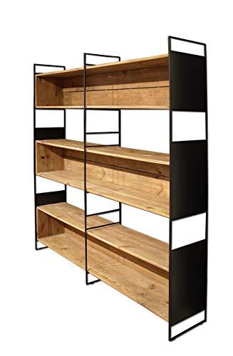 Estantería de 6 estantes de madera reciclada y metal negro – Almacenamiento estilo Chalet Chic – Colección Chalet