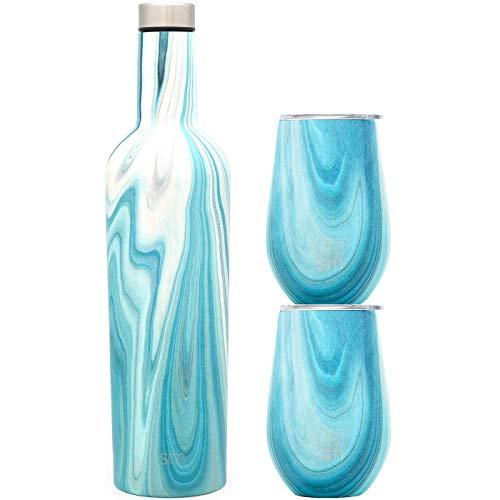 Simple Modern Spirit Wine Bundle - 2 12oz Wine Tumbler Glasses with Lids & 1 Wine Bottle - Vacuum Insulated 18/8 Stainless Steel Pattern: Ocean Quartz