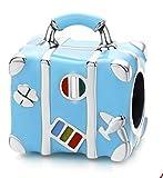 ARMAC Pulsera de plata de ley S925, accesorios de viaje azul, accesorios de viaje, bonito y simple colgante de pulsera (colgante, sin pulsera)