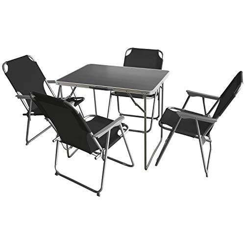 Multistore 2002 5tlg. Campingmöbel Set Klapptisch, Aluminium, 80x60cm + 4X Campingstuhl klappbar, Schwarz/Strandmöbel Gartenmöbel