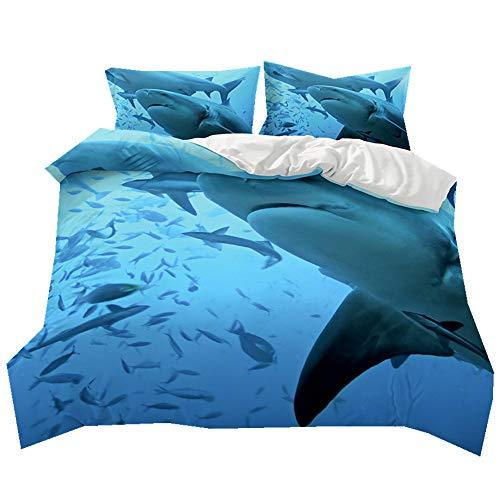 Juego de cama funda nórdica Ocean School of Fish Creative Cartoon Shark Print Kids regalo, antihumedad, antiácaros, suave y cómodo, poliéster, Great White Shark, suelto