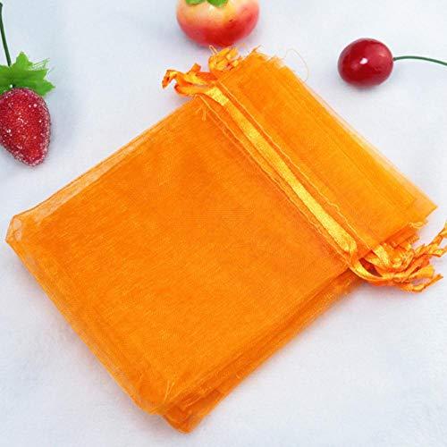 Zbkt35x50cm Bolsas de Organza de Gasa Transparente para Boda Caja de Regalo Embalaje Navidad Halloween Año Nuevo Bolsas de Regalo Grandes, Naranja