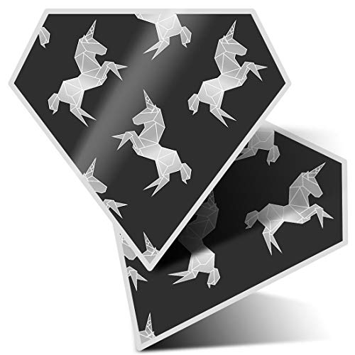 Awesome 2 x Diamond Stickers 7.5 cm BW - Pretty Ombre Unicorn Fun Decals for Laptops,Tablets,Luggage,Scrap Booking,Fridges,Cool Gift #35584