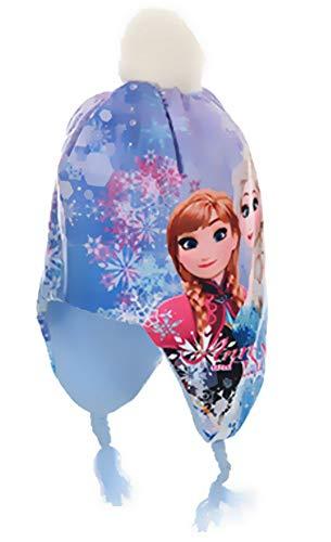 Eisköngin Peru Mütze für Mädchen Anna und ELSA Frozen völlig unverfroren Pudelmütze mit Bommel Gr. 52 + 54 (HELLBLAU, 54)
