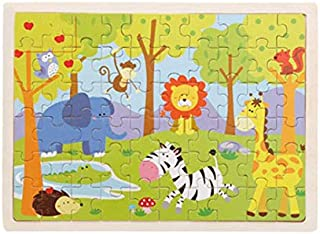 HoSelling 60 Pieces Wooden Puzzles Kids Educational Toys DIY Wooden Jigsaw Puzzle For Children Adults Baby Children's Buil...