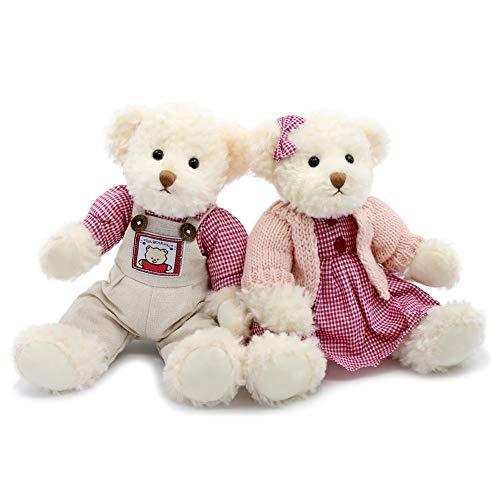 Oitscute - Juego de 2 osos de peluche, lindo animal de peluche, regalo para pareja, juguete de peluche suave de 11 pulgadas (suéter rojo)