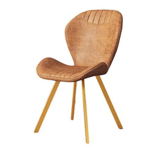 LF-Stuhl, einfacher Schreibtisch und Stuhl, Make-up-Computer-Hocker, für Zuhause, Esszimmerstuhl, Farbe: Gelbbraun