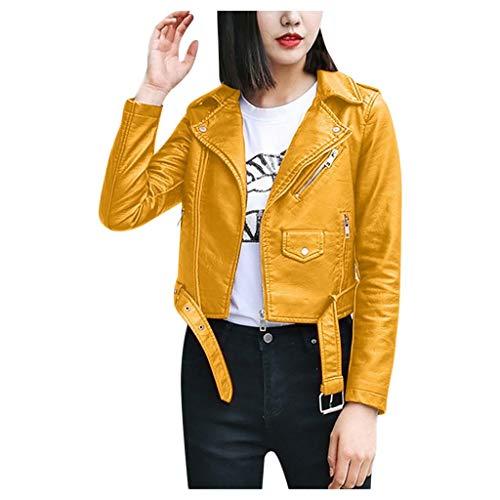 Chaqueta de cuero amarilla estilo clásico rockera