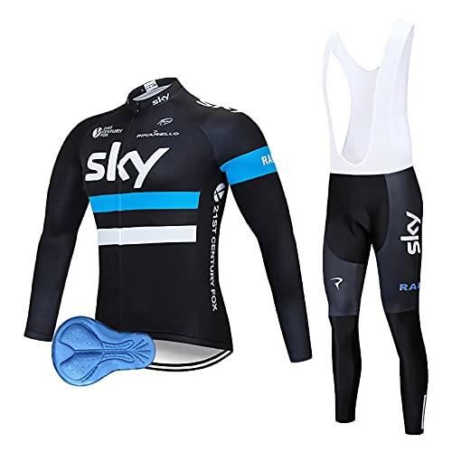 Abbigliamento Ciclismo Set Tuta Ciclismo Uomo Completo Ciclismo Per Bici Da MTB Con Imbottiti in 3D Gel Traspirante e Ad Asciugatura Rapida Nero (Blu, XL)
