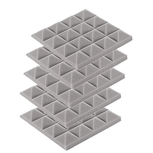 5PCS Akustikelemente Noppenschaumstoff Akustikschaumstoff Schwamm Breitbandabsorber Pyramide Isolierung Akustik Wand Schaumstoff Polsterung Studio Schaumstoff 25x25x5cm (Grau)