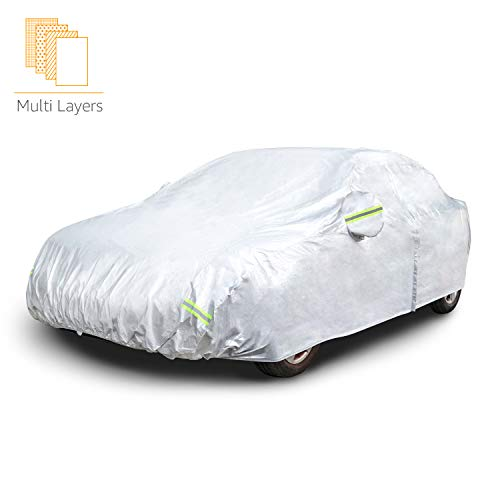 AmazonBasics – Wetterfeste Auto-Abdeckung, silberfarben, PEVA mit Baumwolle, Limousinen bis 400cm