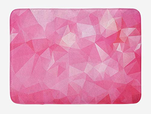 Klotr Tapis De Bain, Light Pink Bath Mat, Abstract Mosaic Style Geometric Dimension Fractal Polygonal Illustration, Plush Bathroom Decor Mat with Non Slip Backing, 40X60 CM, Magenta Fuchsia
