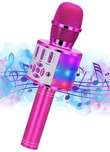 Microphone Sans Fil Karaoké, Ankuka Microphone Bluetooth Machine à Karaoké Accueil Lecteur KTV Cadeau Enfants pour Android/iOS avec Fonction d'enregistrement, Lumières Dansantes, Sons Magiques Purple