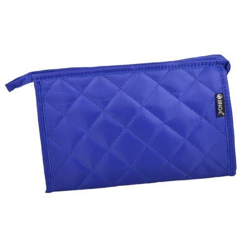 DealMux Royal Blue Plaid Zip de Higiene Pessoal maleta de maquiagem Cosmetic Bag Organizador w Espelho