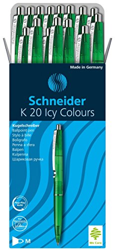 Schneider K20 Icy Colours balpen (documentechte vulling - lijndikte M, inktkleur: blauw, Made in Germany) 20-pack groen