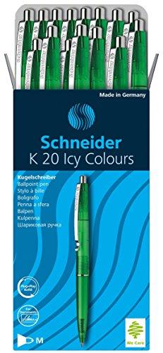 Schneider K20 Icy Colours balpen (documentechte vulling - lijndikte M, inktkleur: blauw, Made in Germany) 20-pack groen