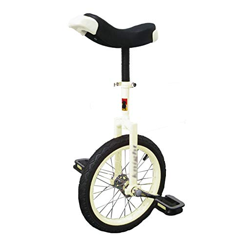AHAI YU 24 Pulgadas Adultos/Grandes niños Unicycle, Principiantes/Adolescentes/mamá/papá Equilibrio al Aire Libre Ciclismo, Marco de Trabajo Pesado y Rueda de neumáticos de Color (Color : White)