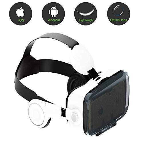 HUA JIE VR Glasses, Eye Protected Hd Virtual Reality Headset W/Bluetooth Controller Vr Headsets Compatible for iphone Samsung Other Phones 4.7-6.2 Inches